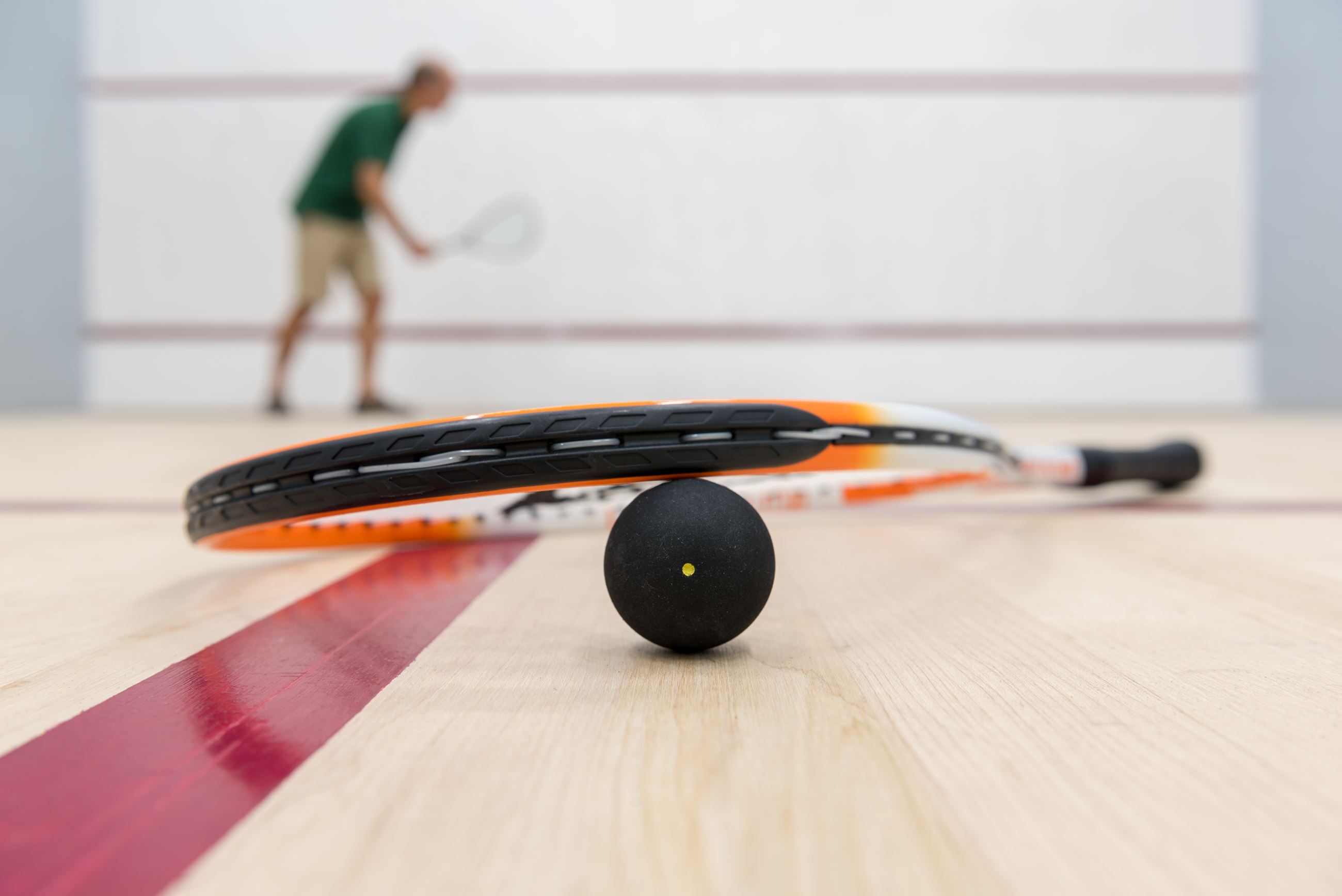 Racquetball Equipment on the Court Floor